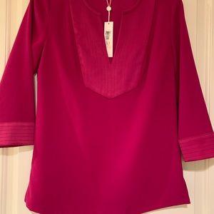 Trina Turk Burgundy Tunic Blouse Size small